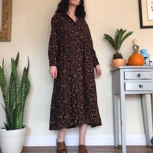 Vintage Dresses - Vintage floral corduroy dress